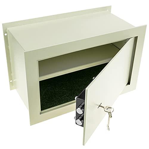 PrimeMatik - Caja Fuerte de Seguridad empotrada de Acero con Llaves 40x20x25cm Beige