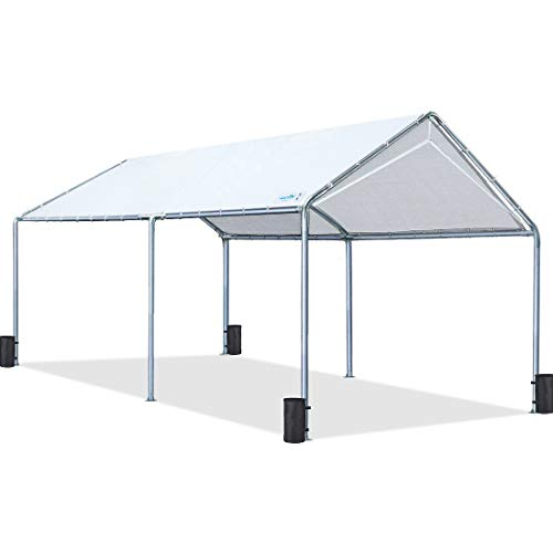 Quictent 10X20'ft Upgraded Heavy Duty Carport Car Canopy Party Tent with Reinforced Steel Cables-White