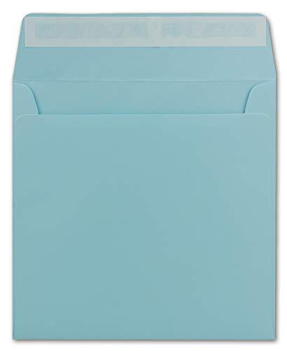 20 Quadratische Brief-Umschläge Hell-Blau - 15,5 cm - 120 g/m² Haftklebung stabile Kuverts ohne Fenster - von Ihrem Glüxx-Agent (5 Stück GRATIS)