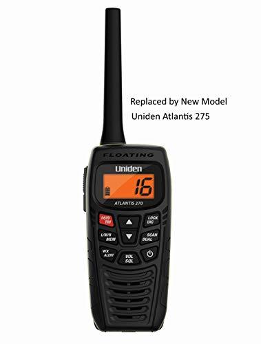 Uniden Atlantis 270 Handheld Floating 2-Way 1/2,5/6 Watt VHF Marine Radio, JIS7/IPX7 Submersible...