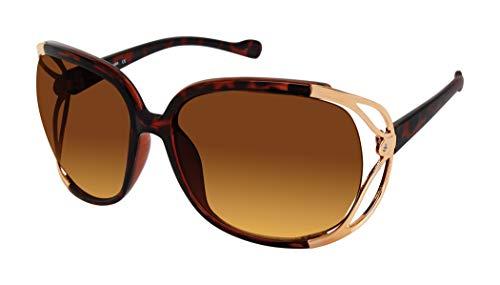 U.S. Polo Assn. Gafas de sol para mujer PA5026 rectangulares sobredimensionadas con patillas de metal con ventilación y protección 100% UV, 75 mm
