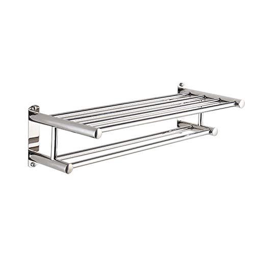 SUS304 toallero de pared doble de acero inoxidable para cocina y ducha-Longitud 60 CM Autoadhesiva toallero barra Baño Accesorio para Cocina y Baño