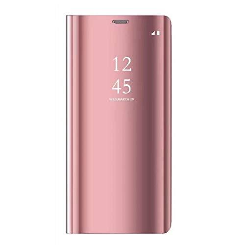 Caler Funda Compatible para Xiaomi Redmi Note 5A, Flip Tapa Libro Carcasa - Modelo Fecha y Espejo Brillante tirón del Duro Case,Espejo Soporte Plegable en Reflectante para Redmi Note 5A (Oro Rosa)