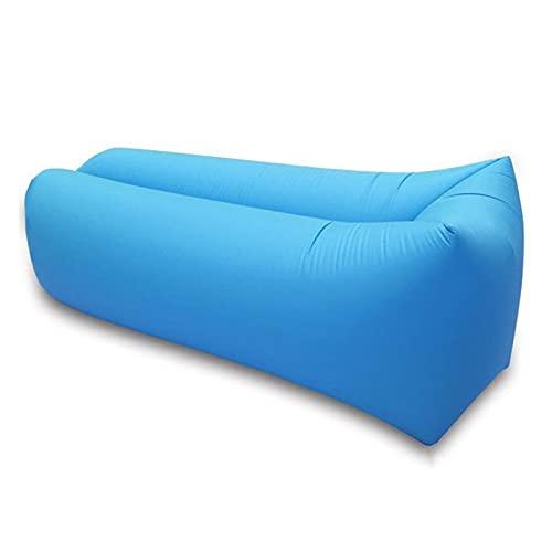 BAIEPING Tumbona Inflable, Sofá Cama De Aire Perezoso Portátil De Cabeza Cuadrada para Acampar En La Playa, Lago, Jardín Sky Blue,