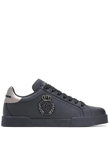 Moda Dolce E Gabbana Hombre CS1761AH1648B979 Negro Cuero Zapatillas   Otoño-Invierno 20