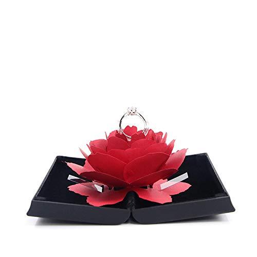 YF Caja De Anillo Negra Caja De Anillo Rosa Matrimonio Anillo De Diamantes Joyería De Navidad Regalo Creativo 12 * 6.5 * 2 Cm