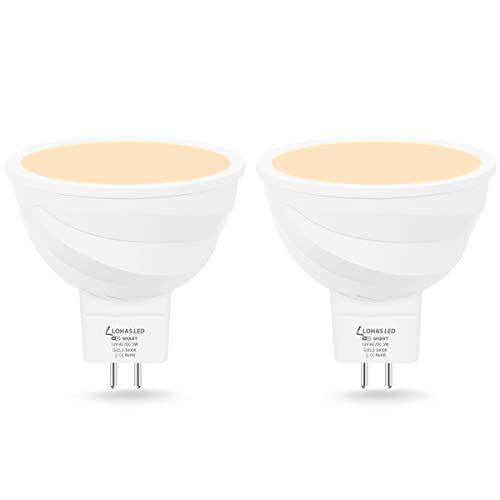 LOHAS GU5.3 LED Smart Lampe MR16 LED 5W = 35W 3000K Warmweiß Kompatibel mit APP Alexa Google Home Echo Stimmenkontrolle Gruppensteuerung Wlan LED Reflektor 400 lumens 12V 2er Pack