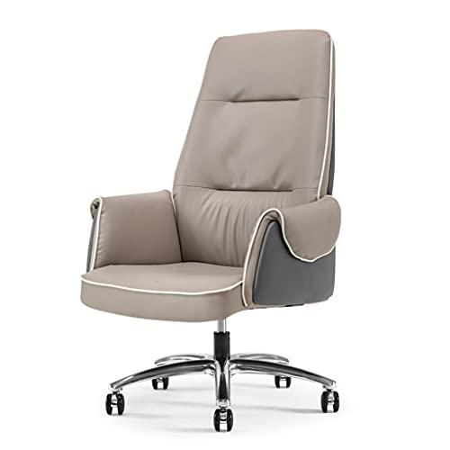Silla de oficina cómoda Silla de la computadora de cuero, silla de oficina en el hogar, silla de oficina sedentaria cómoda puede elevarse y bajarse, sillón de respaldo giratorio de 360 ° Silla de es