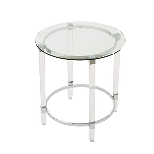 Christopher Knight Home Orianna Acrylic and Tempered Glass Circular Side Table, Clear