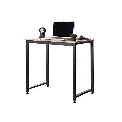 SOFSYS 31' Computer Writing Desk Workstation Table Home Office Design for Video Gaming, Designers and Entrepreneurs, Small Desktop with Sturdy Metal Frame, Oak/Black