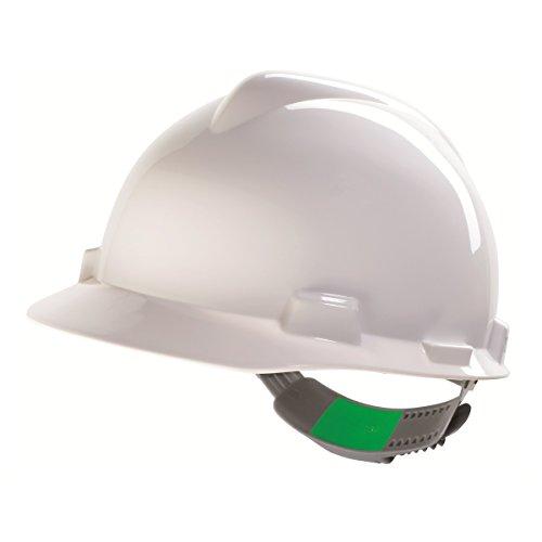 Casco de Protección MSA V-Gard con Ajuste Deslizante PushKey - Casco de Trabajo Casco de Seguridad Casco de Construcción, Color: Blanco ✅