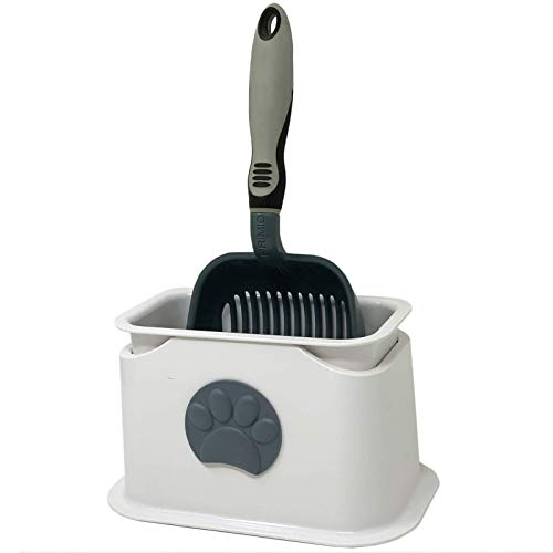iPrimio Cat Litter Scooper with Deep Shovel - Non Stick Plated Aluminum Scoop - Modern Scooper Holder -Works with All Metal and Plastic Scoopers