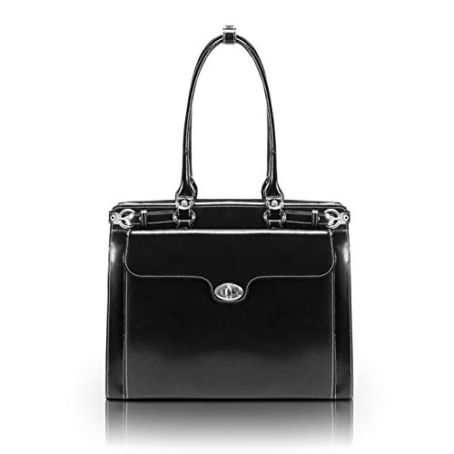 "McKlein, W Series, Winnetka, Top Grain Cowhide Leather, 15"" Leather Ladies' Laptop Briefcase, Black (94835)"
