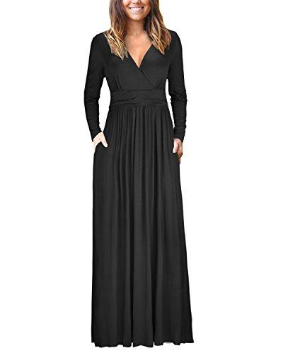 OUGES Womens Long Sleeve V-Neck Wrap Waist Maxi Dress(Black,XL)