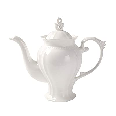 Fine Porcelain Ultra White English Teapot, Coffee Pot, Victoria Style, Light Weight, 37 Oz