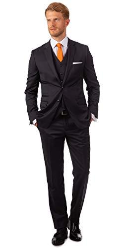 Linus Eleganter Herren Slim Fit Dreiteiler Anzug Reine Schurwolle S 120's klassisch in anthrazit (44)