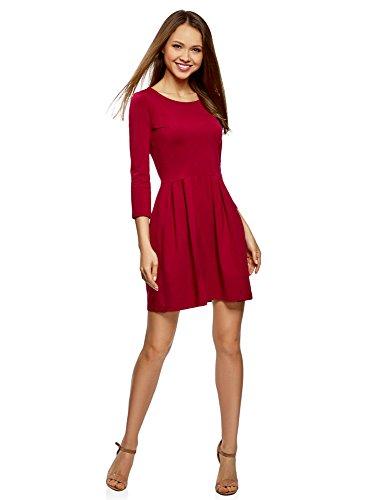 oodji Ultra Damen Tailliertes Kleid mit Ausgestelltem Rock, Rot, DE 40 / EU 42 / L