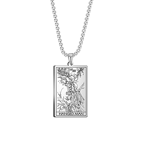 TEAMER Tarot Cards Necklace Stainless Steel Jewelry Celtic Astrology Divination Magic Amulet Necklace Major Arcana Pendant Necklaces (SILVER, THE WHEEL OF FORTUNE)