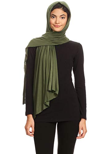 Abeelah Jersey Hijab Scarf - Made in the USA - Islamic, Muslim, African and Indian Fashion Compatible (Olive)