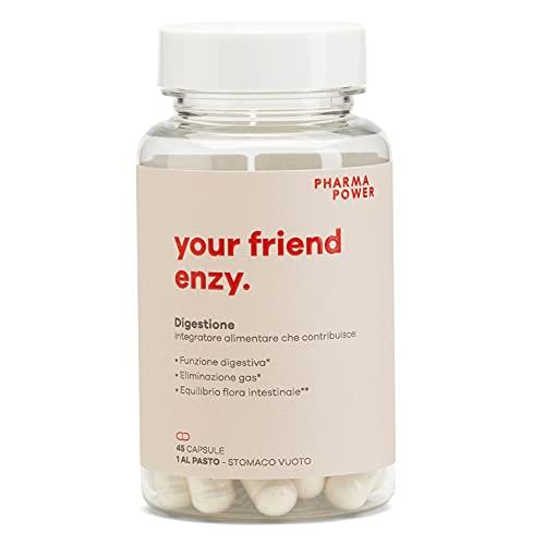 Your Friend Enzy PharmaPower, 45 cps, Mix di Enzimi e Probiotici Completo per Digestione Difficile, Gonfiore e Intolleranza al Latte
