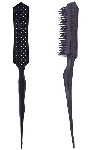 2pcs Detangling Brush Hairstyles Teasing Comb for Volume Hair, Rattail Comb Backcombing Brush for Fine Thin Hair - Black