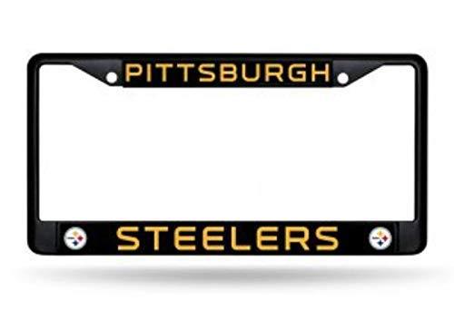 ClustersNN Bhartia Pittsburgh Steelers Black License Plate Frame Metal Tag Holder 12' X 6'