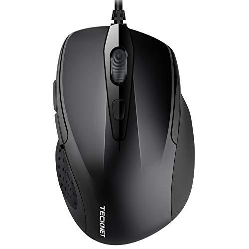 TeckNet PRO S2 Mouse Wired, Mouse USB Ottico con Cavo, 2000 DPI e 6 Pulsanti per PC Notebook Computer Portatile, 2,4 G