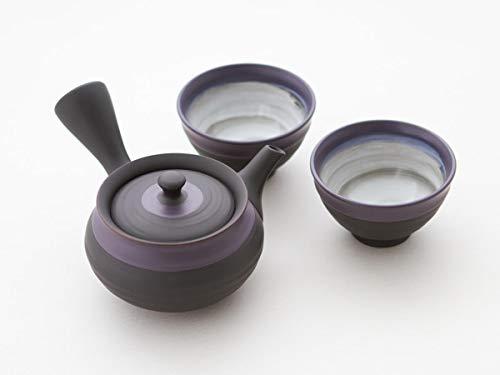 Ukou Original japanische Teekanne, Kyusu, mit 2 Becher: SHU Hira Murasakinakaobi. Integriertes Tee-Sieb aus Edelstahl. Echt Japanisches Tee-Set aus natürlichem Tokoname-Ton in schöner Geschenk-Box