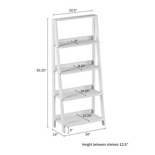 Lavish Home 4 Shelf Ladder Bookshelf, White