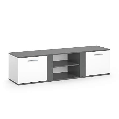 Vicco TV Lowboard NOVELLI Sideboard Weiß Fernsehschrank Fernsehtisch erhältlich in 3 Dekoren (Weiß/Anthrazit)