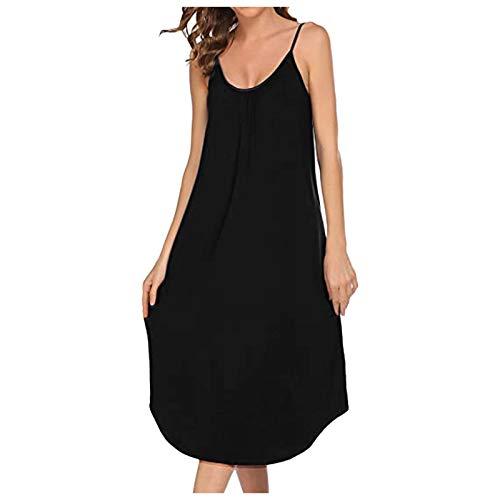 Fcostume - Camisón de noche para mujer, de algodón, manga corta, cuello redondo, informal, para verano 1 negro 38