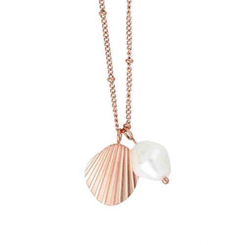 URBANHELDEN Schmuck Kette mit Muschel und Perle Rosegold ; Halskette für Damen, größenverstellbar, mit exklusiver Schmuckschachtel, tolle Geschenkideen für Frauen