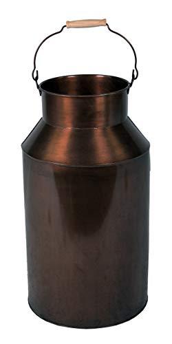 Fachhandel Plus Milchkanne groß mit Henkel 57 cm Deko-Kanne Metallkanne mit Griff Vase Schirmständer Regenschirmständer altkupfer