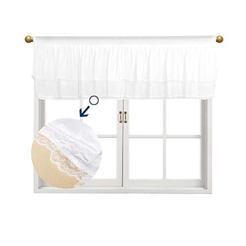 Fulu Bro Fenstervolant, 132,1 x 40,6 cm, flauschiges Netzgewebe, Tüll-Tutu-Volant für Fenster für Babys, Mädchen, Kinder, Kinderzimmer, Fensterdekorationen 52*16 inch Weißer Chiffon
