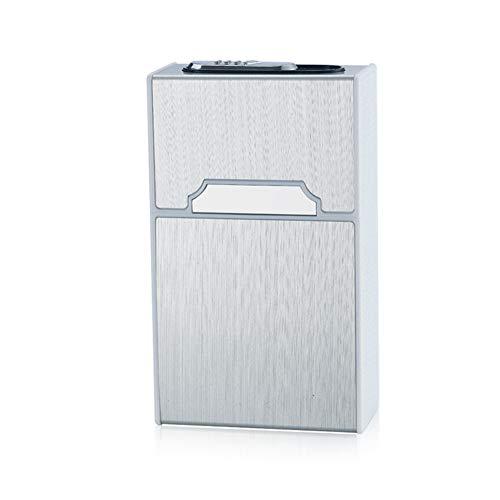 2-in-1 Metall Zigarettenetui mit Feuerzeug Elektronisch Elegante Entwurf Metall Zigarettenbox Mit Elektronisches Feuerzeug Aufladbar (Zigarette frei) (Silver)