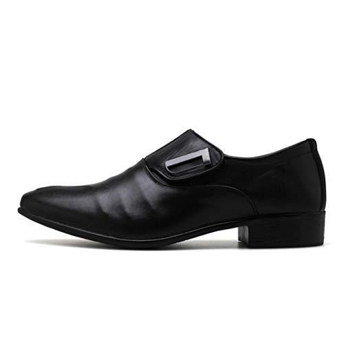 Zapatos de Negocios Hombres Brogue Punta Puntiaguda Vintage Oxford Zapatos de Vestir Formales Slip On Zapatos de Trabajo más amplios Zapatos de Uniforme de Boda de Oficina Tamaño Grande