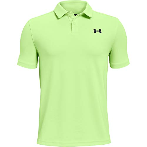 Under Armour Boys' Performance Golf Polo , Summer Lime (162)/Academy Blue , Youth Large