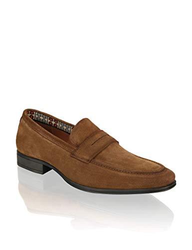PAT CALVIN Schuhe Herren Slipper aus feinem Veloursleder, klassischer Halbschuh für Business und Freizeit in braun 41 EU