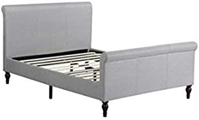 """Home Life Premiere Classics Cloth Light Grey Silver Linen 45"""" Tall Headboard Sleigh Platform Bed with Slats Full - Complete Bed 5 Year Warranty Included 017"""