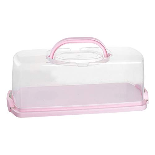 Portable Plastic Rectangular Loaf Bread Box with Transparent Lid, Bread Keeper for Carrying and Storing Loaf Cakes,Banana Bread,Pumpkin Bread,Quick Breads (Pink, 1 Pack)