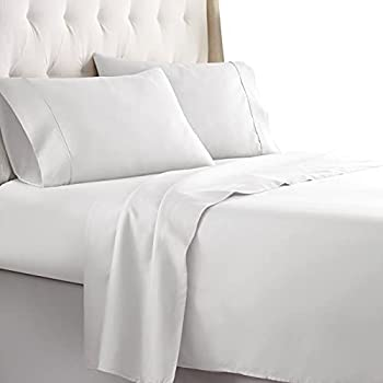 HC Collection Twin Bed Sheets Set - Bedding Sheets & Pillowcases w/ 16 inch Deep Pockets - Fade Resistant & Machine Washable - 4-Piece 1800 Series Twin Size Sheet Sets – White