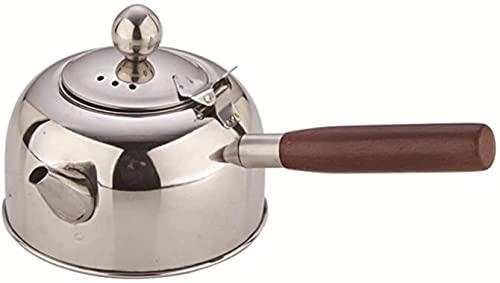 Tetera, tetera, cocina de inducción, mango lateral, estufa eléctrica de cerámica, olla de fondo plano, hervidor de té Kung Fu (color plateado, tamaño: 5L)