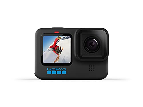 GoPro HERO10 Black - Waterproof Action Camera with Front LCD and Touch Rear Screens, 5.3K60 Ultra HD Video, 23MP Photos, 1080p Live Streaming, Webcam, Stabilization
