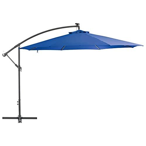 vidaXL Ampelschirm mit Alu-Mast Entlüftung Kurbelmechanismus Sonnenschirm Gartenschirm Strandschirm Schirm Balkon Terrasse 350cm Blau