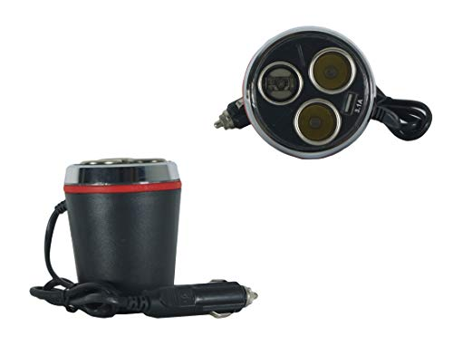 takestop® adapter sigarettenaansteker voor 3 stopcontacten ws1904 auto 120 W camper boot usbx3100 mHa multi-oplader voor smartphone tablet