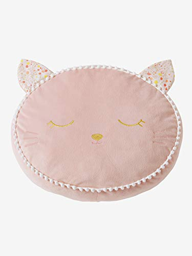VERTBAUDET Coussin Chat velours Rose TU