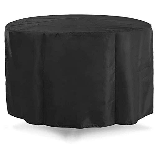ZSML 150x90cm Gartenmöbelbezüge Wasserdicht, Patio Möbelbezug rund, Plane Staub und Sonne Oxford Stoff mit Kordelzug Außenterrasse Tische und Stühle Schutz, Schwarz