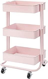 Darice 30043103 3-Tier Metal Rolling Blush Pink, 30 Inches Storage Cart,