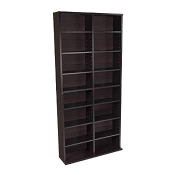 Atlantic Oskar Adjustable Media Cabinet - Holds 464 CDs 228 DVDs or 276 Blu-rays 12 Adjustable and 4 fixed shelves PN38435719 in Espresso