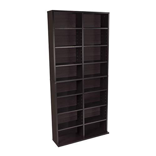 Atlantic Oskar Adjustable Media Cabinet - Holds 464 CDs, 228 DVDs or 276 Blu-rays, 12 Adjustable and 4 fixed shelves PN38435719 in Espresso